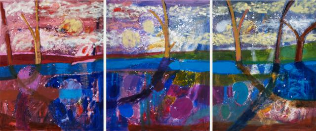 Night at the Blue Pond, oil on canvas, (triptych) 100 x 240 cm, 2010