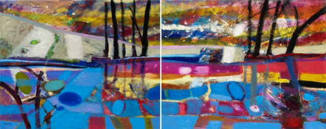 At the Pond, oil on canvas, 80 x 200 cm (diptych), 2013